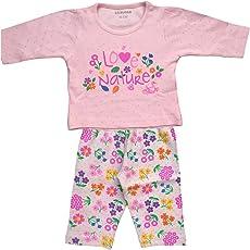 Lilsugar Baby Girls Pink Full Sleeves Night Suit