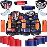 Kids Tactical Vest Kit Gifts Toys, Genround 90pcs Nerf Tactical Vest Set for Nerf Toy Gun, 2 Sets Adjustable Vest Kits Kids N