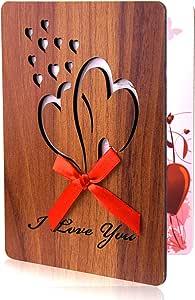 TUPARKA Happy Valentinstag Karte handgemachte Holzimitat Grußkarte Jubiläum Liebeskarte mit Umschlag zum Valentinstag, Muttertag, Geburtstage, Hochzeiten