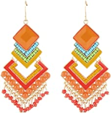 Crunchy Fashion Special Bohemian Hueful Danglers Earrings for Valentine Gifts