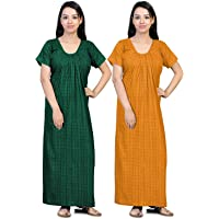 CIERGE Women's Cotton Printed Maxi Nighty (Pack of 2) (CIERGE-NEW-COMBO_Yellow & Green_Free Size)