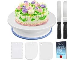 Soporte de torta giratorio de placa de pastel de WisFox Plato giratorio de decoración de pastel de placa giratoria con 2 jueg