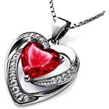 DEPHINI - Collar de corazón rojo - Plata de ley 925 - Piedra de nacimiento de Siam claro adornado con colgante de cristal Dep