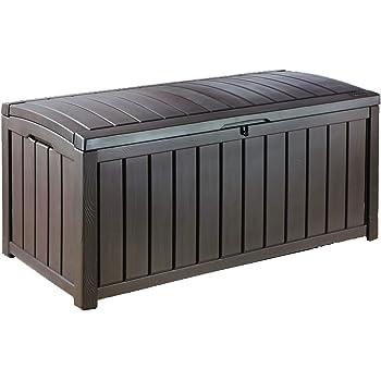 Keter Glenwood Outdoor Plastic Storage Box Garden Furniture, Brown, 128 x 65 x 61 cm