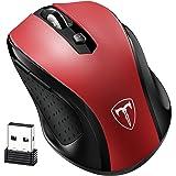 VicTsing Mini Schnurlos Maus Wireless Mouse 2.4G 2400 DPI 6 Tasten Optische Mäuse mit USB Nano Empfänger Für PC Laptop, Microsoft Pro, Office Home (Rot)