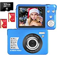 LongOu Digitalkamera 2,7 Zoll 1080P 30 Megapixel HD Fotoapparat Digitalkamera Wiederaufladbare Fotokamera mit 8-Fach…