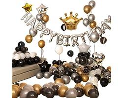 Ponmoo 110 piezas Globos Decoraciones Cumpleaños Negro, Feliz Cumpleaños Globos Negro Dorado y Plata, Globos Lámina Látex de