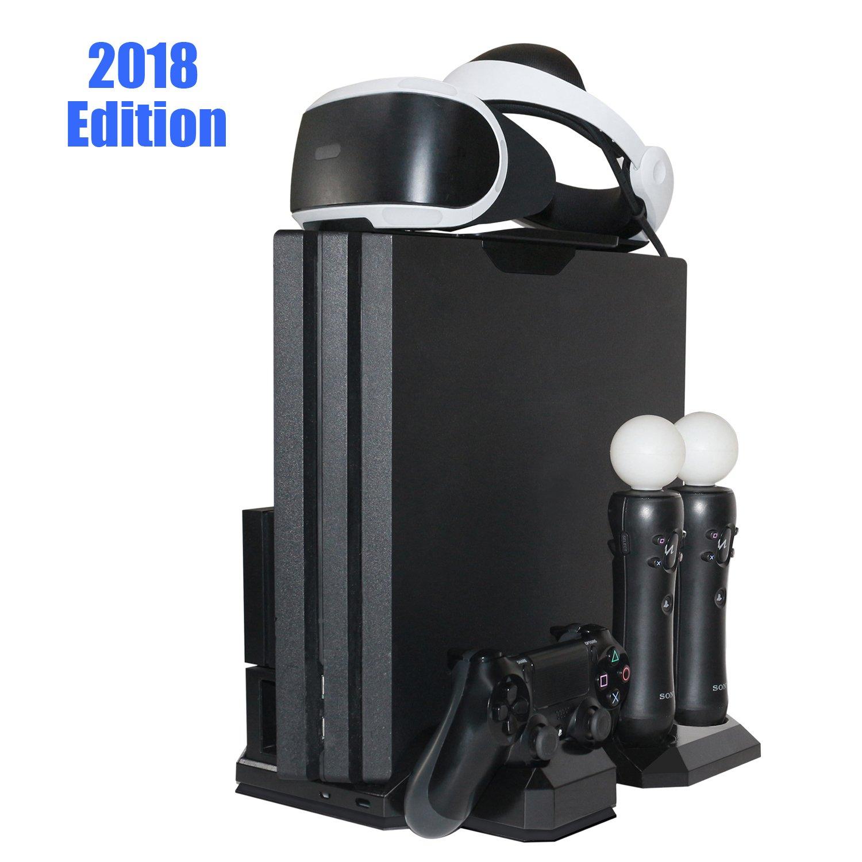 Support Vertical pour PlayStation – ElecGear PS VR Stand, Ventilateur de refroidissement, Station de Charge Controller Chargeur for Manette DualShock, Move Motion Navigation Contrôleur, PS4, Slim, Pro