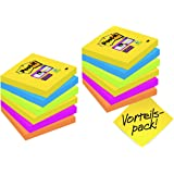 Post-it 654SR9+3 Haftnotiz Super Sticky Notes Promotion (76 x 76 mm) 12 Blöcke (90 Blatt) ultragelb, blau, pink, neongrün, orange