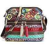 Segater® Borsa a tracolla multicolore da donna Borsa patchwork colorata in vera pelle Borsa a mano Hobo Purse Borsa Borse Tot