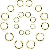 Set di 10 paia di orecchini rotondi a cerchio, per donne e uomini, ragazze, leggeri, in acciaio inox, per cartilagine, senza