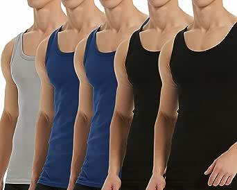 Falechay Mens Vest Tops Muscle 5 Pack 100% Cotton Tank Tops Slim Fit Plain Colored Undershirt