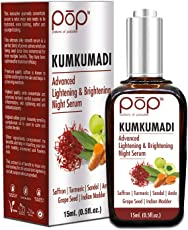 POP Kumkumadi Advanced Lightening and Brightening Night Serum with Premium Kashmiri Saffron, Turmeric, Emblica, Pure Sandalwood, Grape Seed and Manjistha for Radiance, Eventone, Anti Ageing ad Healthy looking skin