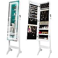 Ezigoo Armoire à Bijoux avec éclairage à écran Tactile LED - Armoire à Bijoux avec Miroir sur Toute la Longueur
