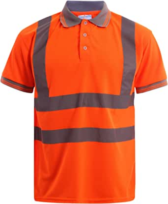MyShoeStore Hi Viz Vis High Visibility Polo Shirt Reflective Tape Safety Security Work Button T-Shirt Breathable Lightweight Double Tape Workwear Top