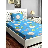 "Divine Overseas Microfiber Kids Printed Designer Bed Sheet (60"" X 90"" 1 Bedsheet + 1 Pillow Cover, Blue White Sunshine…"
