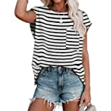 Ancapelion Camiseta informal de manga corta para mujer, para verano, suelta, cuello redondo, básica, con bolsillo. Rayas blan