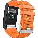 MoKo Garmin vívoactive® HR bracelet, Replacement WatchBand Wristband en Silicone souple Band pour Garmin Vívoactive HR Montre multisports cardio poignet, Orange