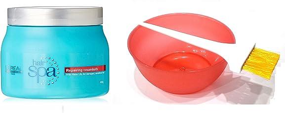 L'Oreal Hair Spa Set of 3 (Repairing Creambath Mask+ Mixing Bowl+ Dye Brush) with Ayur Product in Combo