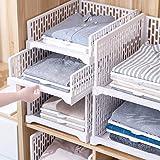 HOMIXES 2 Pcs Armoire Empilable Tiroir Unités Organisateur Vêtements Placard Rangement Boîtes Étagères Diviseur en Plastique