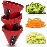 Spiraliseur de Légumes, 3 Ensembles de Coupe Legume Coupe Rapide, Spaghettis de Légumes Coupe-Legumes Spirale Manuel pour Cou