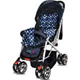 BabyGo Delight Reversible Baby Stroller & Pram with Mosquito Net, Mama Diaper Bag & Wheel Breaks (Polka Blue)