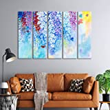 999Store 5 panel wall painting wall frames for living room with frame wall hanging bed colorful flowers butterflies( MDF_Size