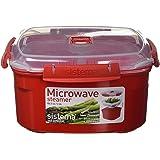 Sistema Microwave stoomkoker, middelgroot met uitneembare mand, 2,4 l, rood/transparant