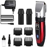 GHB Haarschneidemaschine Haarschneider Elektrischer Herren Profi Haartrimmer Set Netz und Akkubetrieb mit 4 Aufsätzen für Friseur Salon oder Privaten Gebrauch Rot (Verpackung MEHRWEG)