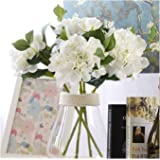 Famibay Flores de Hortensia Flores Artificiales Blancas de Seda Ramos de Hortenisas Flores para Bodas Hogar Hotel Decoración
