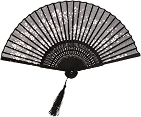 Anbau Fashionable Bamboo Foldable Chinese Handheld Fan Women Girls Prom Wedding Party Decor Accessory Black #2