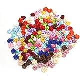 REFURBISHHOUSE 100PCS / Lot Mini Fait par la Main Satin Rose Ruban Rosettes en Tissu Appliques de Fleurs pour Decoration de M