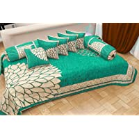 Naini Home Presents 500 TC Chennile Velvet Diwan Set (Set of 8) 1 Single bedsheet (60*90 inch), 5 Cushion Covers (16*16 Inch) and 2 Bolster Covers (16*32 Inch), Color-Aqua Z354