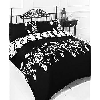 Single Bed Size Black White Duvet Cover Set Amazoncouk Kitchen