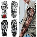 Feelairy Tijdelijke tatoeages, 4 vellen voor de volledige arm, extra grote tatoeages, tijdelijke tatoeage, zwart, zelfklevend