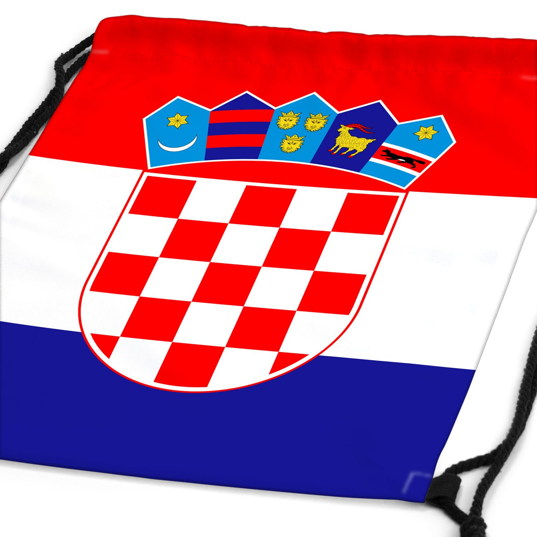 style3 Kroatien Turnbeutel Rucksack Tasche Croatia Flagge WM EM Sport Beutel Festival Fahne Uni Schule Bunt