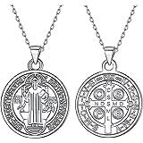 Silvora Medallas de Plata San Benito/Nudo Celta/Virgen Milagrosa/Arbol de Familia/Libertad de Pensamiento/Arcangel Miguel, Co