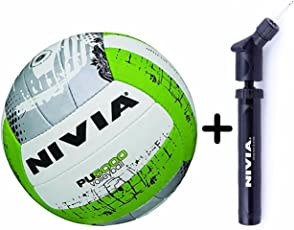 Nivia PU 5000 Volleyball Combo (Volleyball, Size 4 + Double Action Ball Pump)