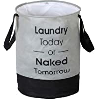 Heart Home Round Non Woven Fabric Foldable Laundry Organiser With Handles,45 Ltr (Grey & Black)-HEARTXY11447