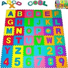 Deuba Puzzlematte ✔86 tlg. Kinderspielteppich Spielmatte Spielteppich Schaumstoffmatte Matte ✔ Kälteschutz ✔abwaschbar ✔bunt ✔phantasiefördernd