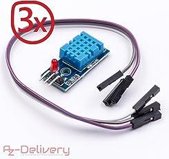 AZDelivery ⭐⭐⭐⭐⭐ DHT11 AM2302 Sensore di temperatura e umidità con Jumper Wire cavo + circuito per Arduino e Raspberry Pi