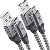 Rampow Câble USB Type C à USB 3.0 [2m/6.5ft, Lot de 2] - Charge/Synchro Ultime Rapide - Garantie à Vie - Câble USB C Nylon Tressé en Fibre - Connecteur Amélioré - Gris Clair [Nouvelle Version]