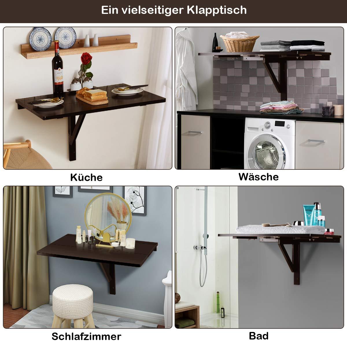 COSTWAY Wandtisch klappbar, Wandklapptisch weiß, 80x60cm, Klapptisch aus Holz (Braun) 3