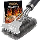 POLIGO Spazzola per Griglia e Raschietto con Manico Deluxe - Spazzola per Barbecue in Acciaio Inossidabile con Filo Sicuro pe