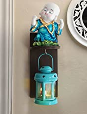 Tied Ribbons Wood Buddha Monk and Hanging Lantern Tealight Holder with Wall Hanging (12 x 12 x 12)