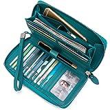 محفظة جلدية نسائية Rfid حجب سعة كبيرة سحاب حول حقائب معصم السفر ..., لارج-ليك بلو, Large,