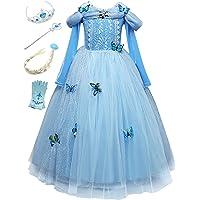 Monissy Costume Reine des Neiges Princesse Elsa Robe Bleu Dentelle Manche Longue Tulle Brillant Papillon Diadème…