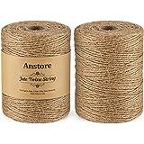 Anstore 400 M natuurlijk jute touw, 1312 voet 2 rollen jute string kunst en ambachten touw voor geschenkverpakking, schilderi