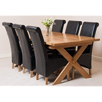 5b728e49f250 Vermont Solid Oak 200 cm - 240 cm Extending Dining Table with 6 Black  Montana Leather Chairs