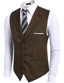 00057cfca734 Coofandy Gilet de Costume Homme Veste Mariage Business sans Manche Solide